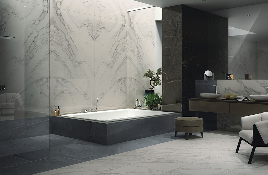 Bathroom Anima Select Caesar - bookmatching marble effect porcelaint stoneware