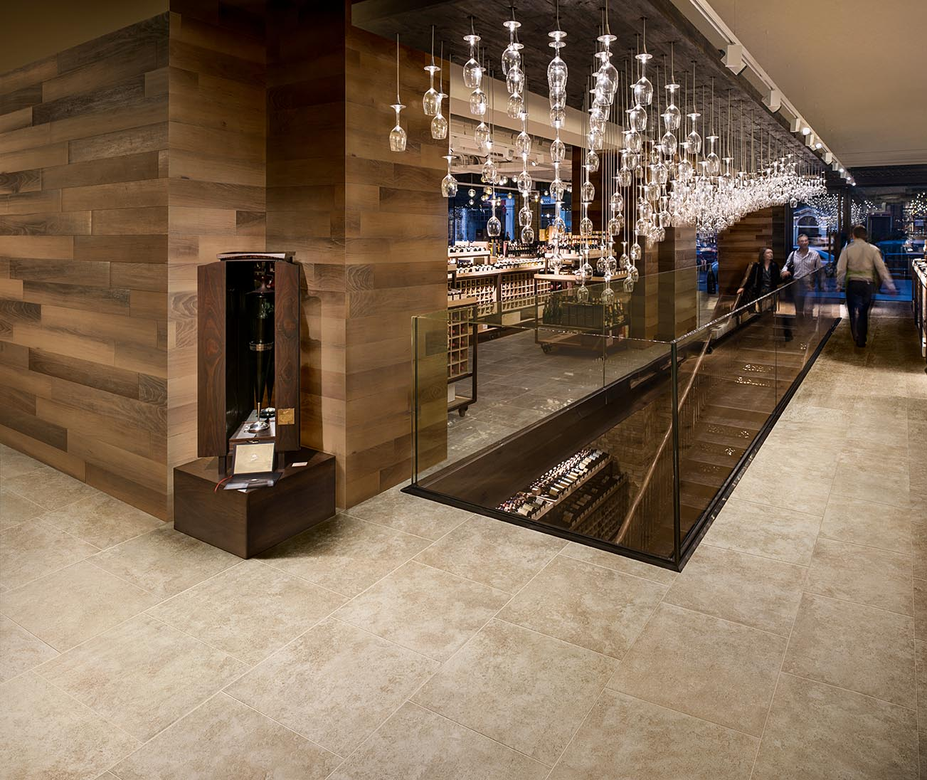Hedonism Wines, Showroom, Europe, United Kingdom, , 2012, Universal Design Studio, Speirs + Major. Ground Floor view with chandelier.