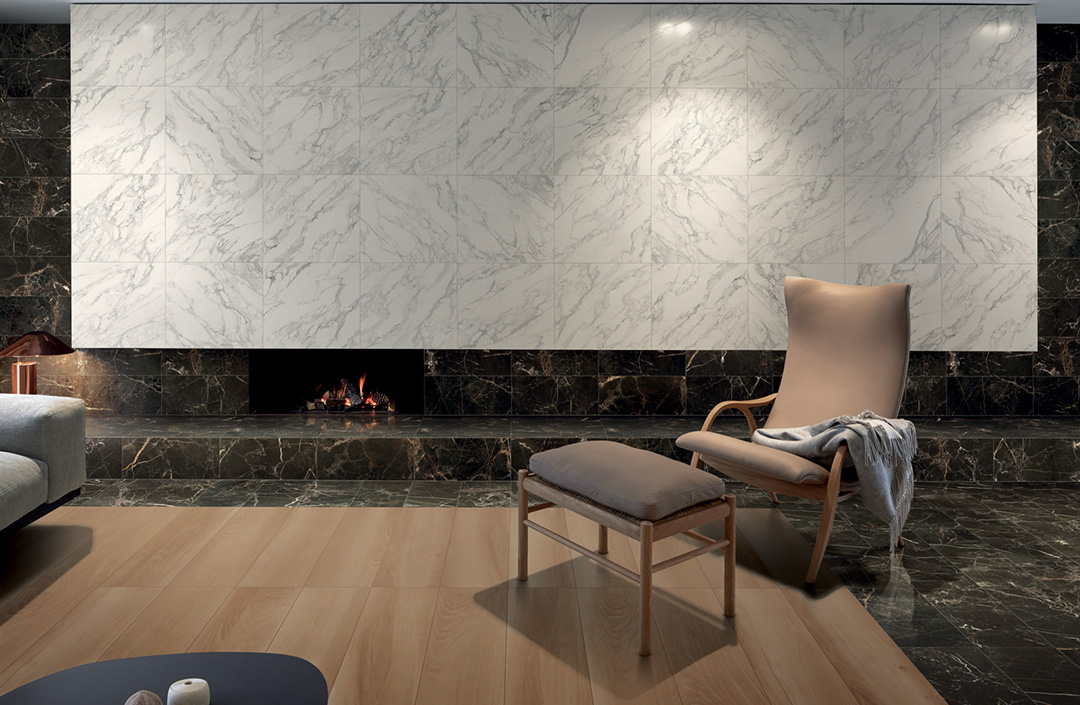 Wood and marble effect tiles living room
